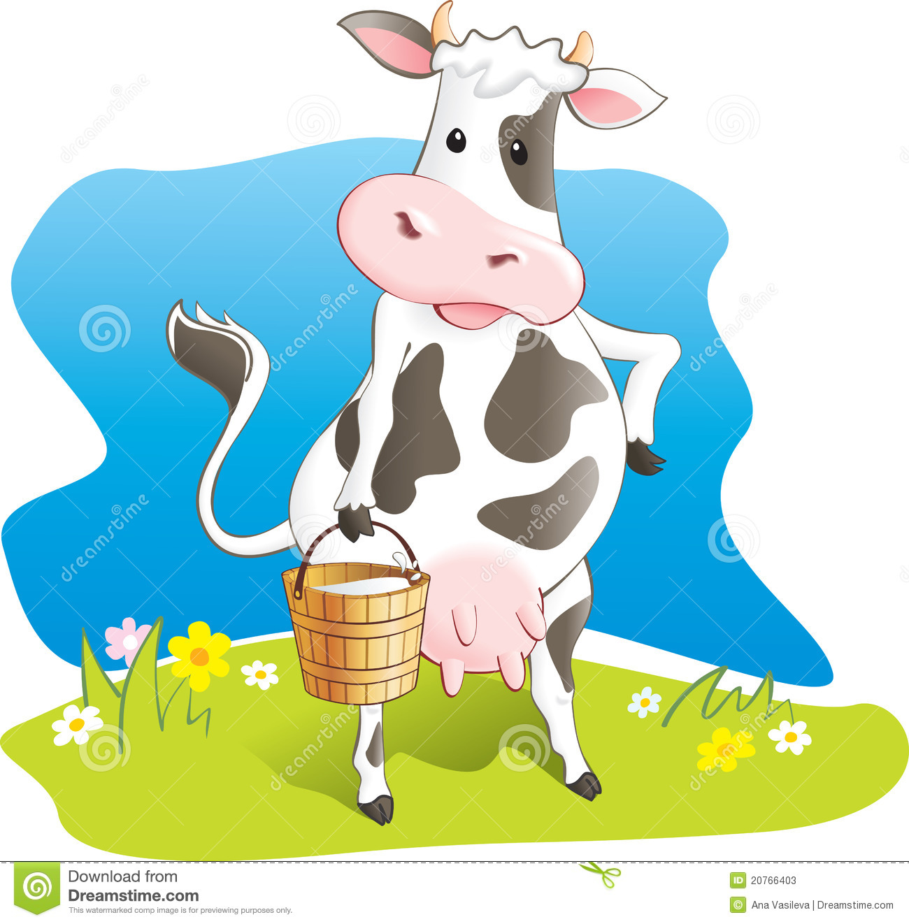 Cow Milk Animation Funny cow carry wooden pail