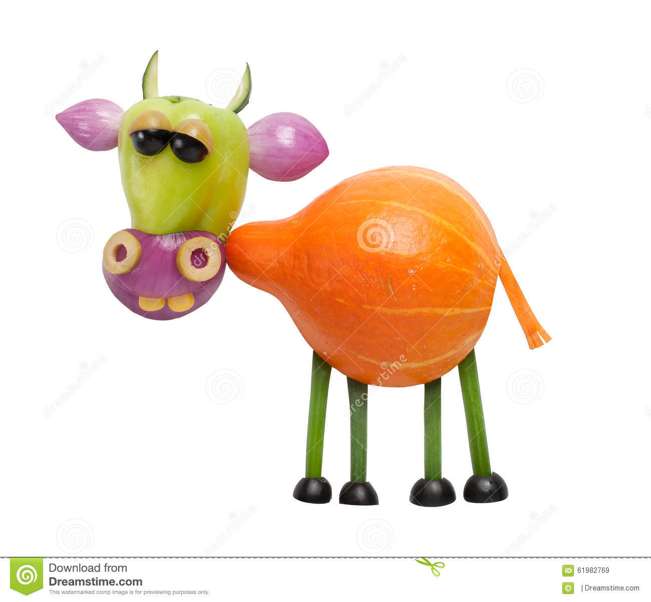 Funny Cow Made Of Vegetables Stock Photo