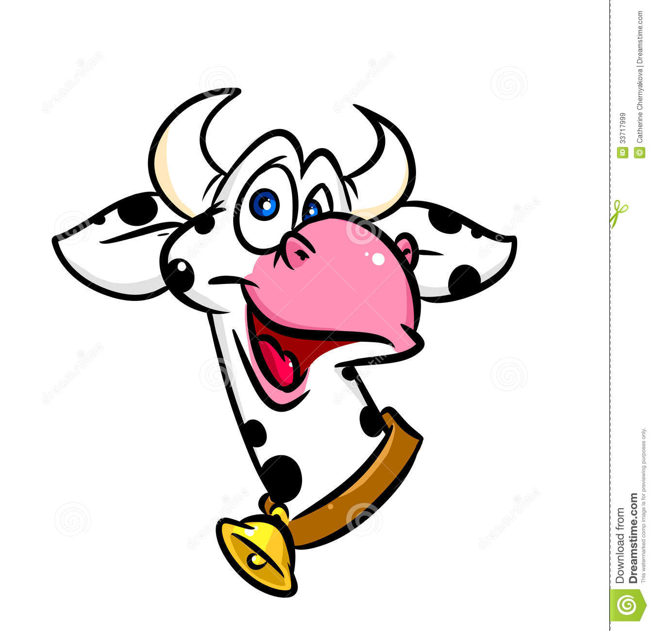 Funny Cow Portrait Cartoon Stock Illustration. Image Of