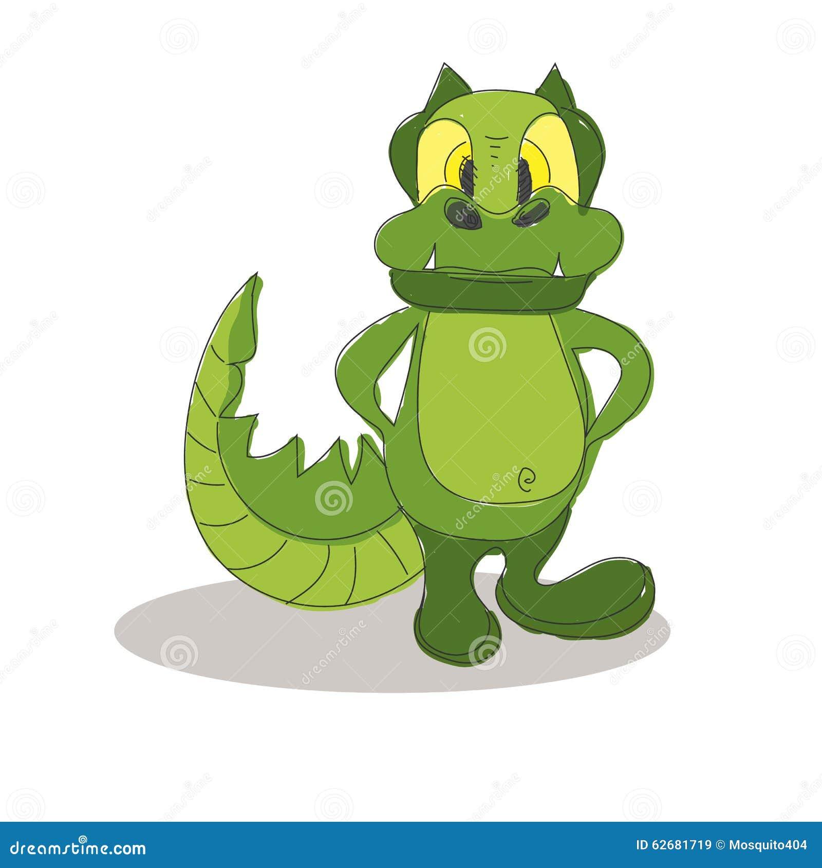 Funny Crocodile Cartoon Posing Stock Vector - Image: 62681719 - photo#32