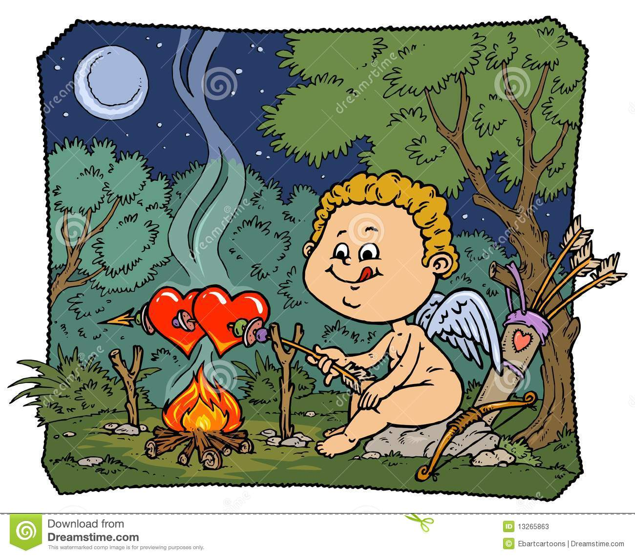 Funny Cupid Illustration - Color Version Stock Photos - Image ...