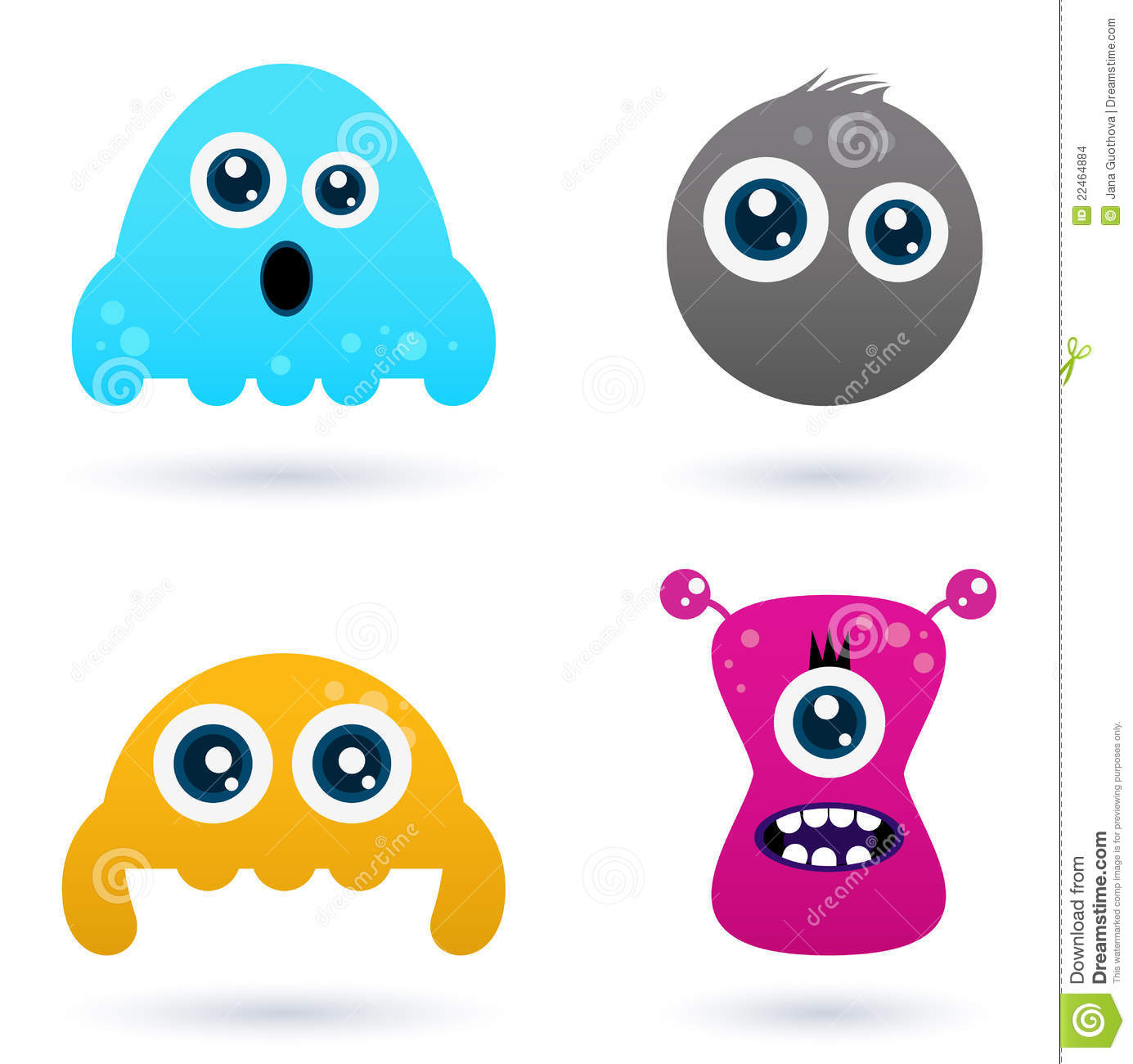 Funny curious monster set