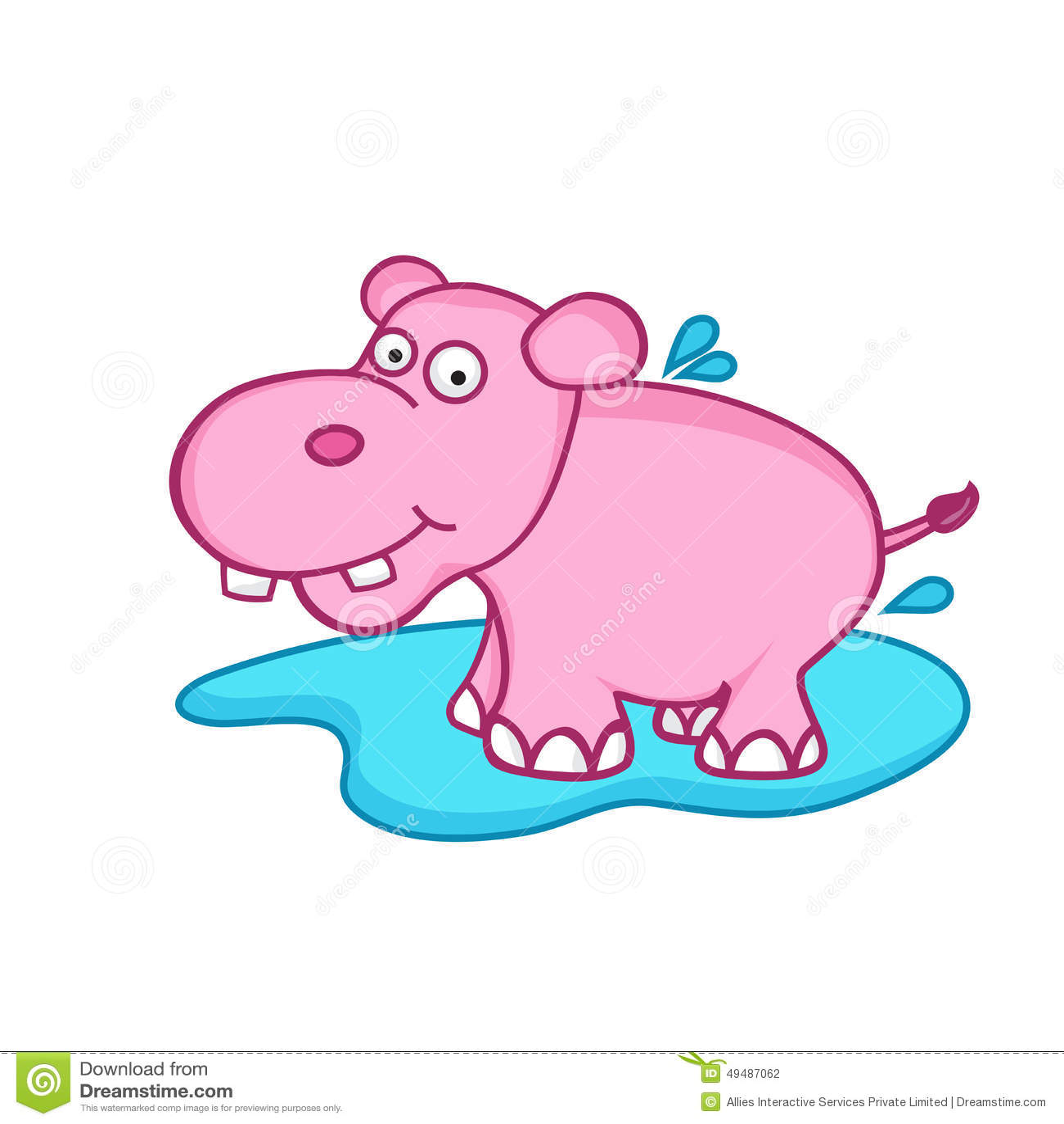 Funny Cute Cartoon Of Hippopotamus. Stock Illustration ...