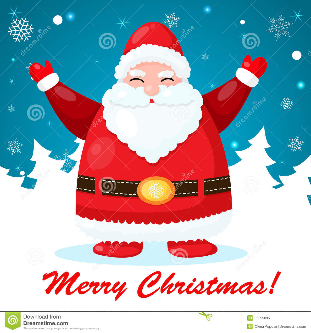 Funny And Cute Christmas Card With Santa Stock Vector Illustration
