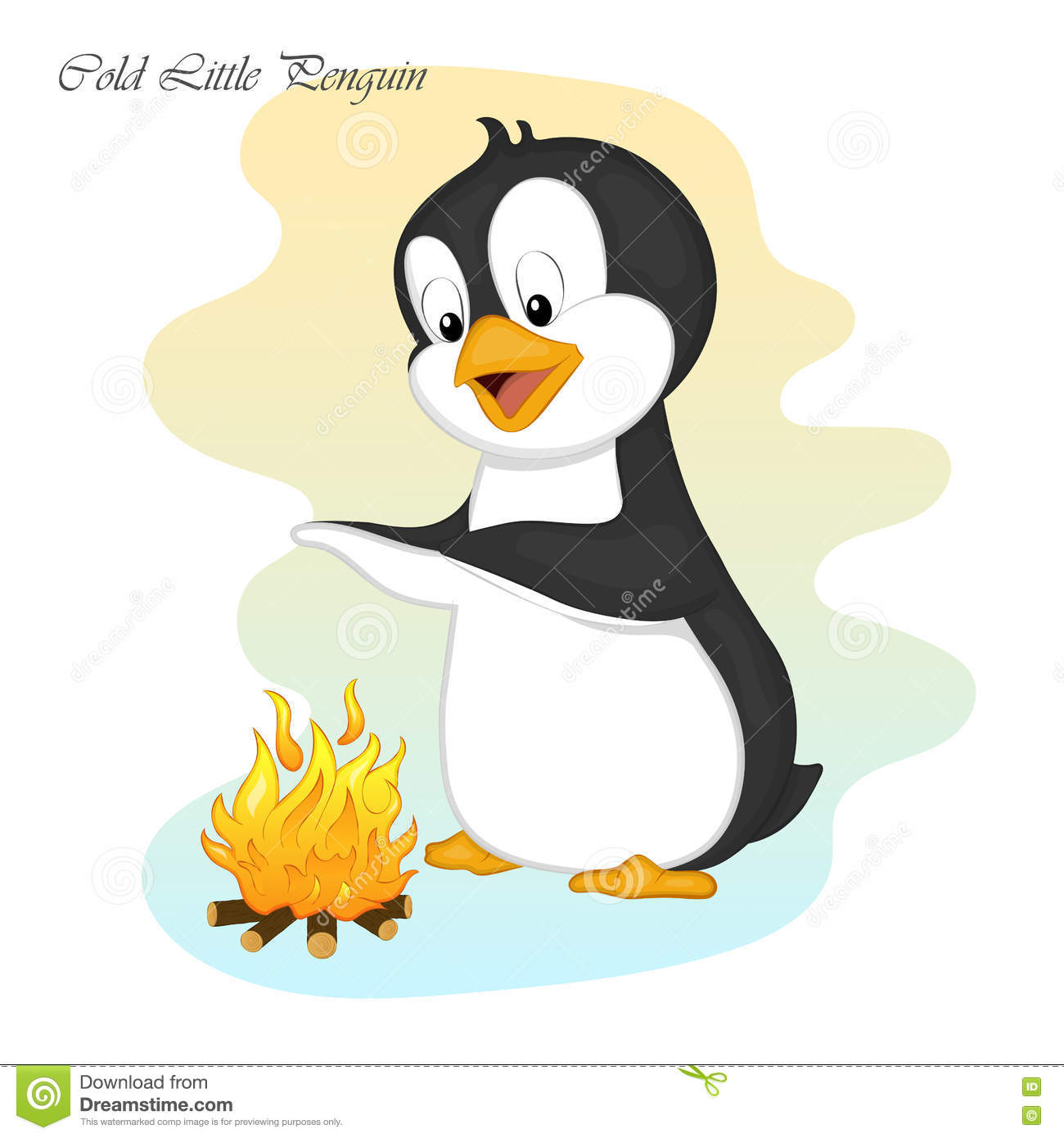 Funny And Cute Cold Little Penguin Make A Fire. Merry