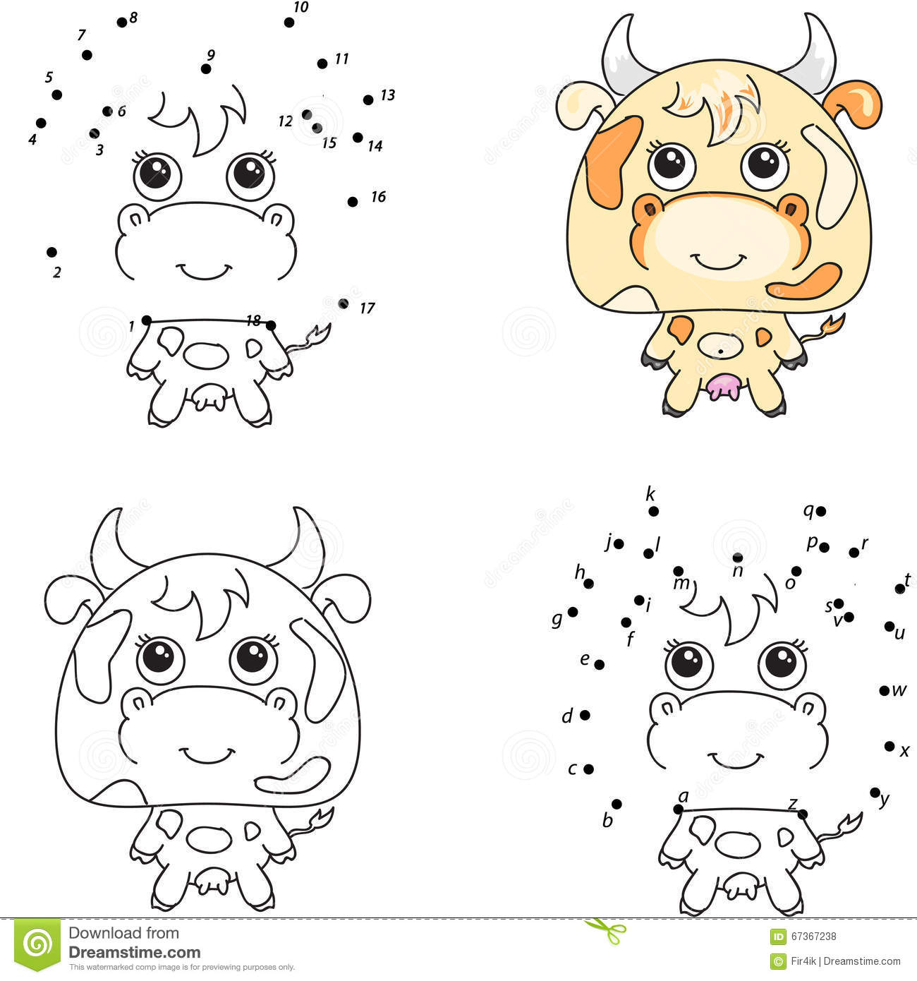 Funny And Cute Cow. Coloring Book And Dot To Dot Game For Kids Stock ...