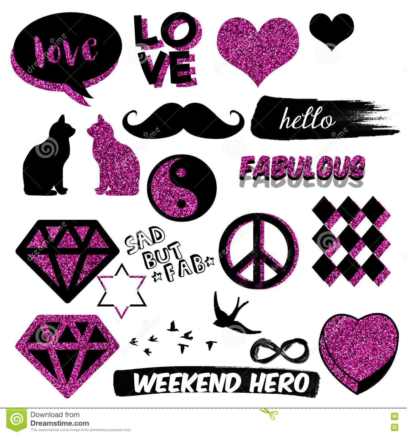 Funny And Cute Decorative Elements Scrapbook Stickers Hand Drawn