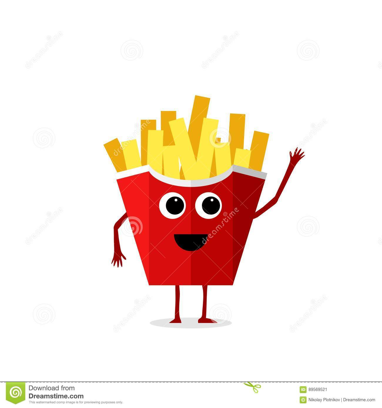 funny and cute french fries character isolated on white