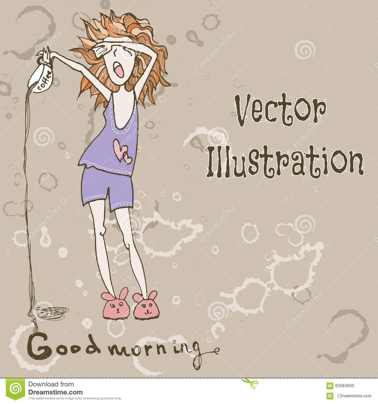 Funny Cute Girl With Morning Coffee Good Morning Vector