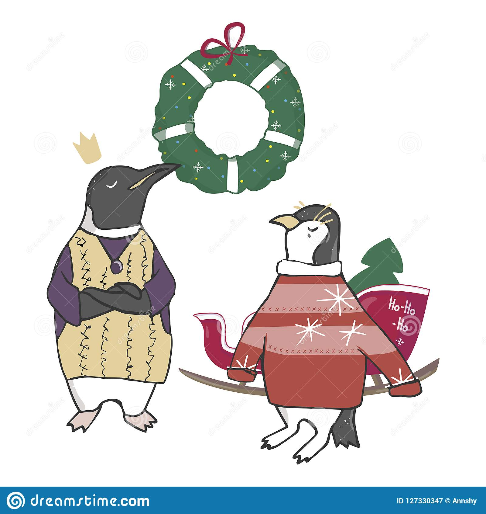 funny and cute penguins christmas tree merry christmas and happy new year card christmas
