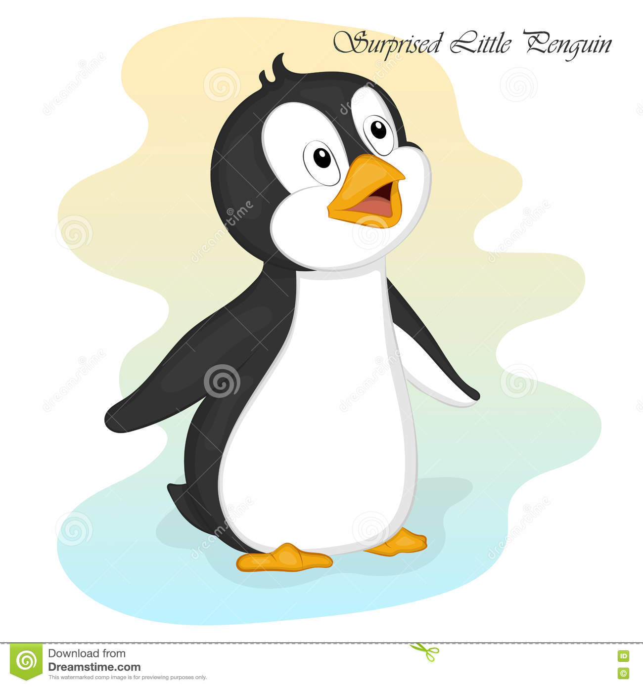 funny and cute surprised little penguin merry christmas and happy new year card christmas
