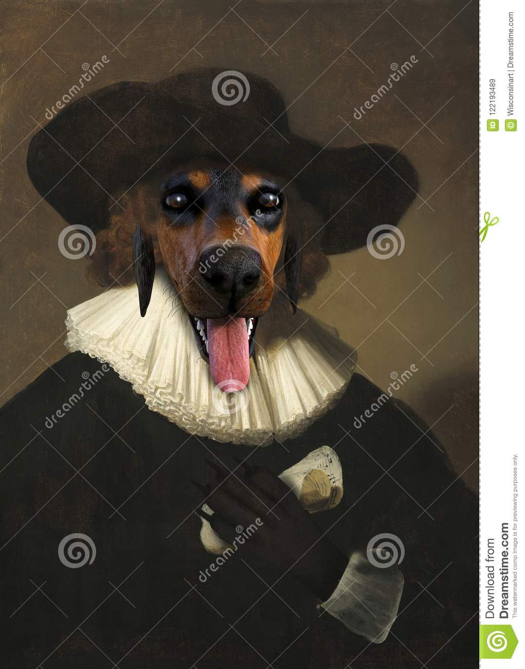 Funny Dog, Rembrandt Oil Painting