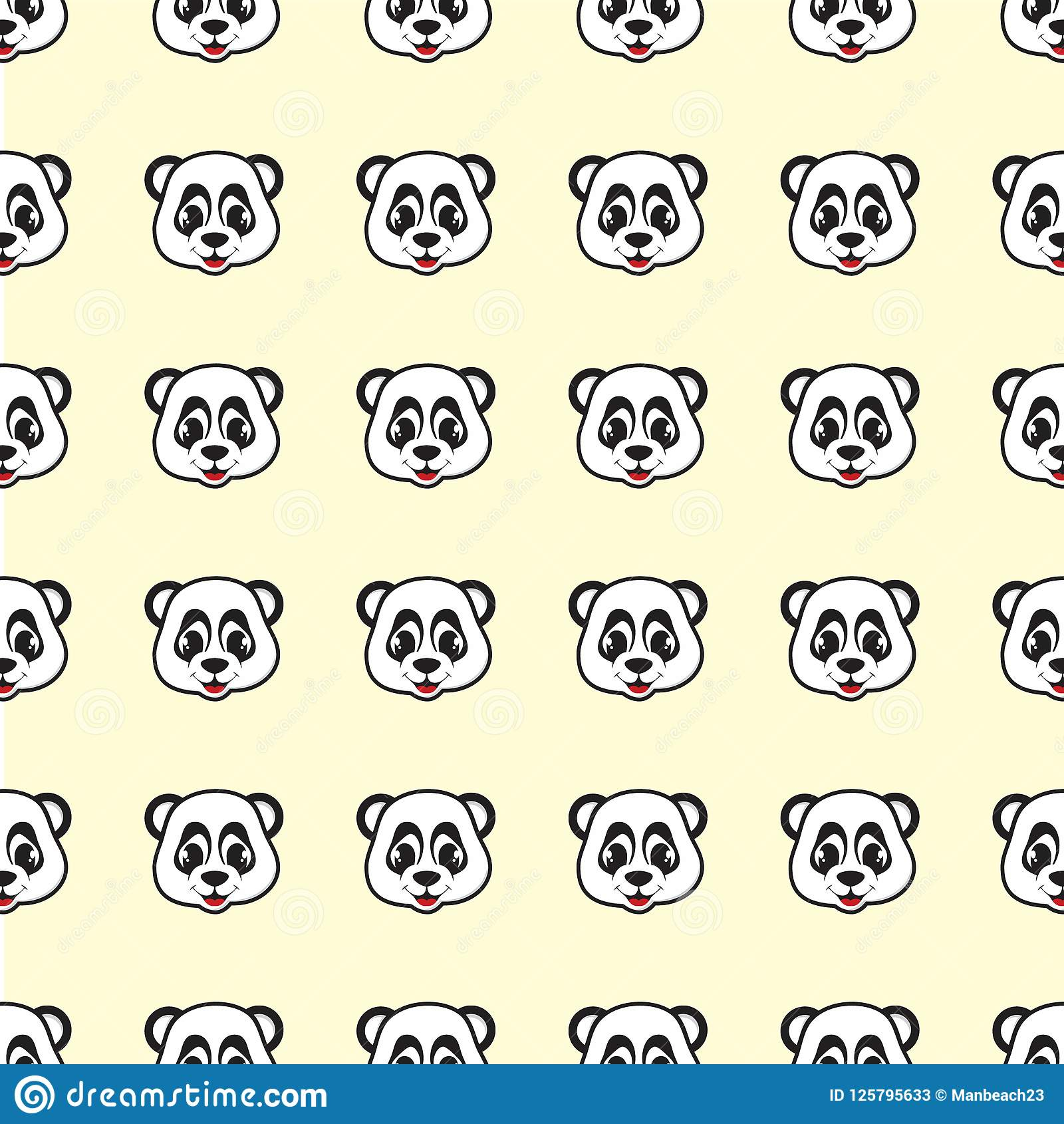 Funny design smile Panda cartoon seamless pattern for background and wallpaper
