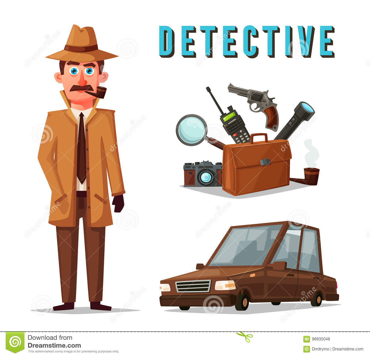 funny detective character cartoon vector illustration stock vector