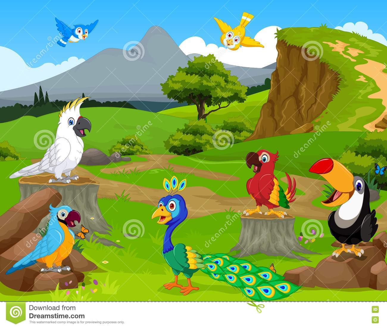 funny different kind of birds cartoon the jungle with landscape background stock illustration