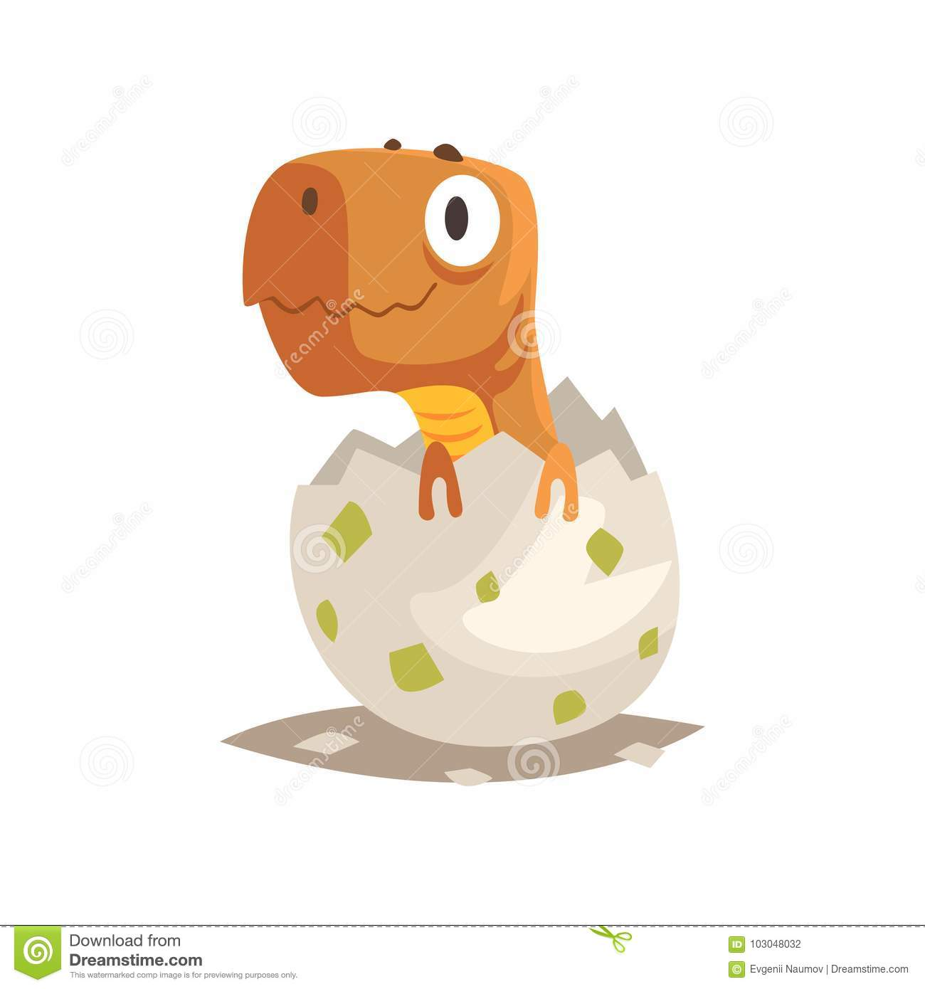 Baby reptile hatching from egg little cub creature life extinct animals flat cartoon tiny pet character birthday cute emoji vector isolated on white