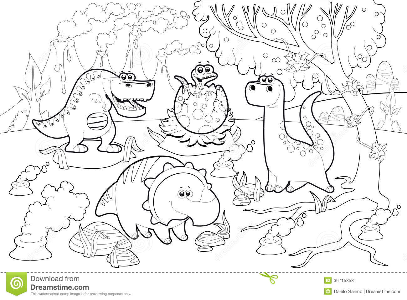 Funny Dinosaurs In A Prehistoric