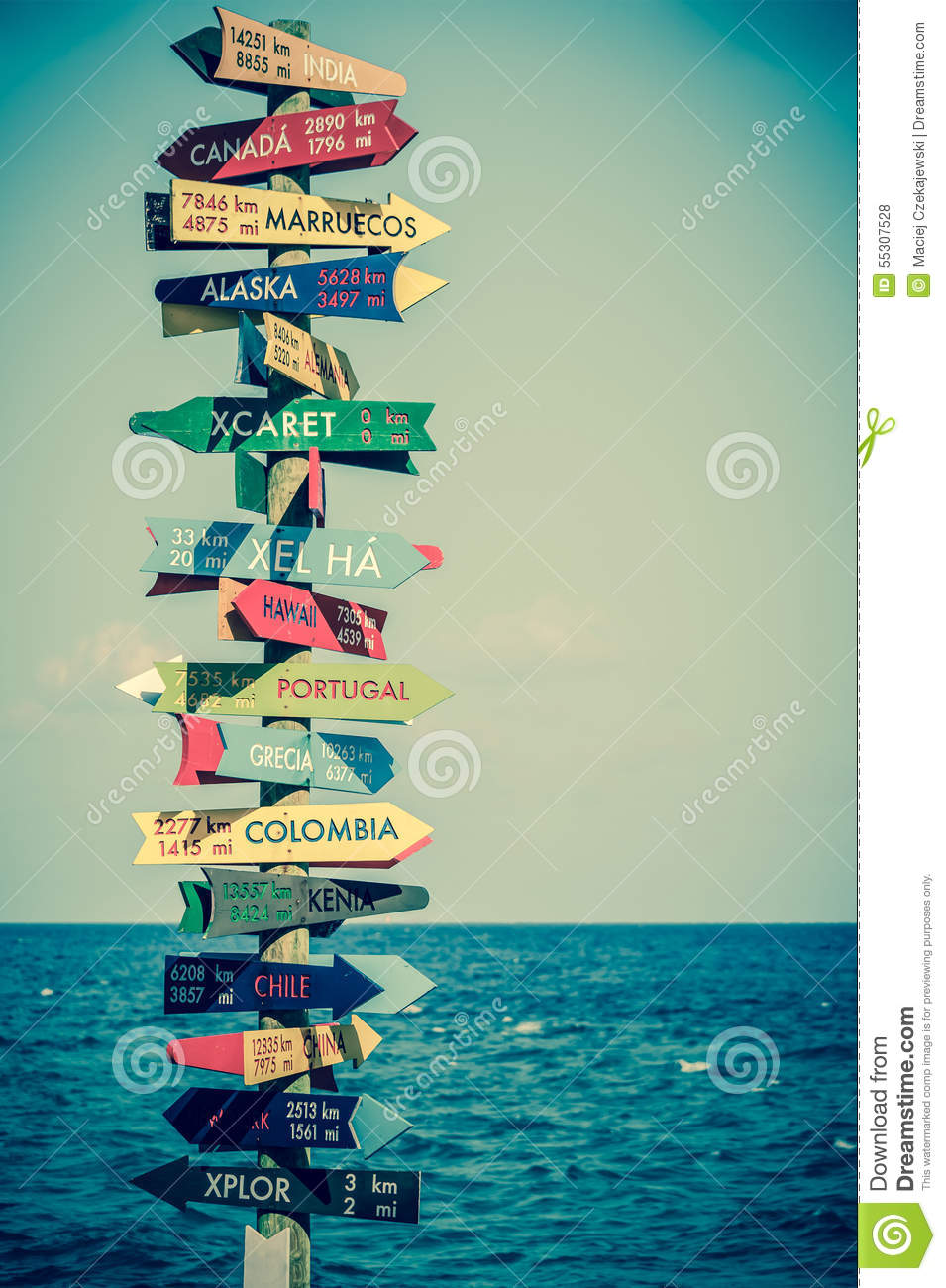 Funny Direction Signpost Stock Photo. Image Of Distance