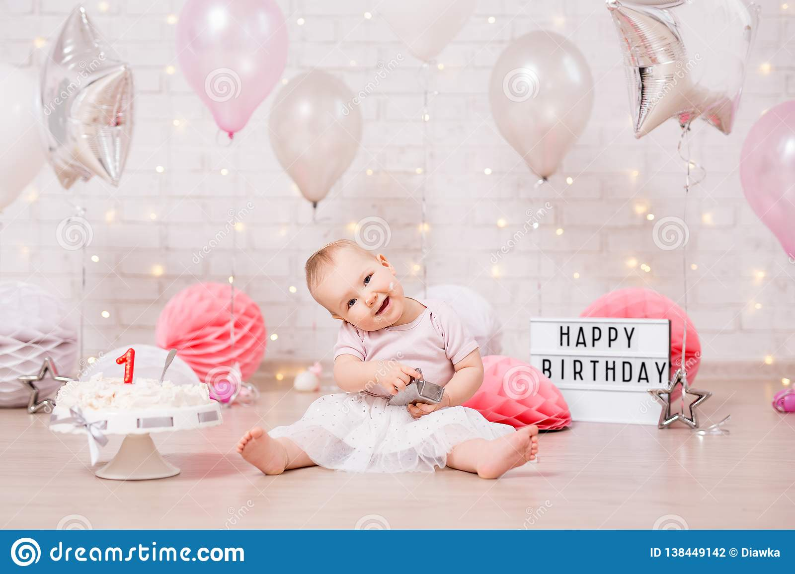 Outstanding Funny Dirty Girl And Smashed Birthday Cake Over Brick Wall With Funny Birthday Cards Online Overcheapnameinfo