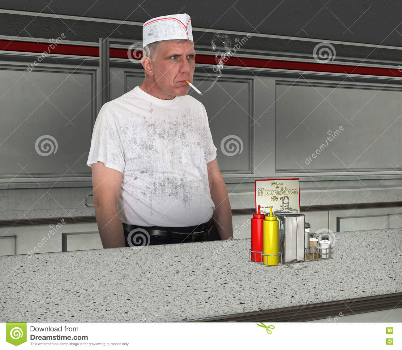 Funny Dirty Restaurant Cook, Chef Royalty-Free Stock