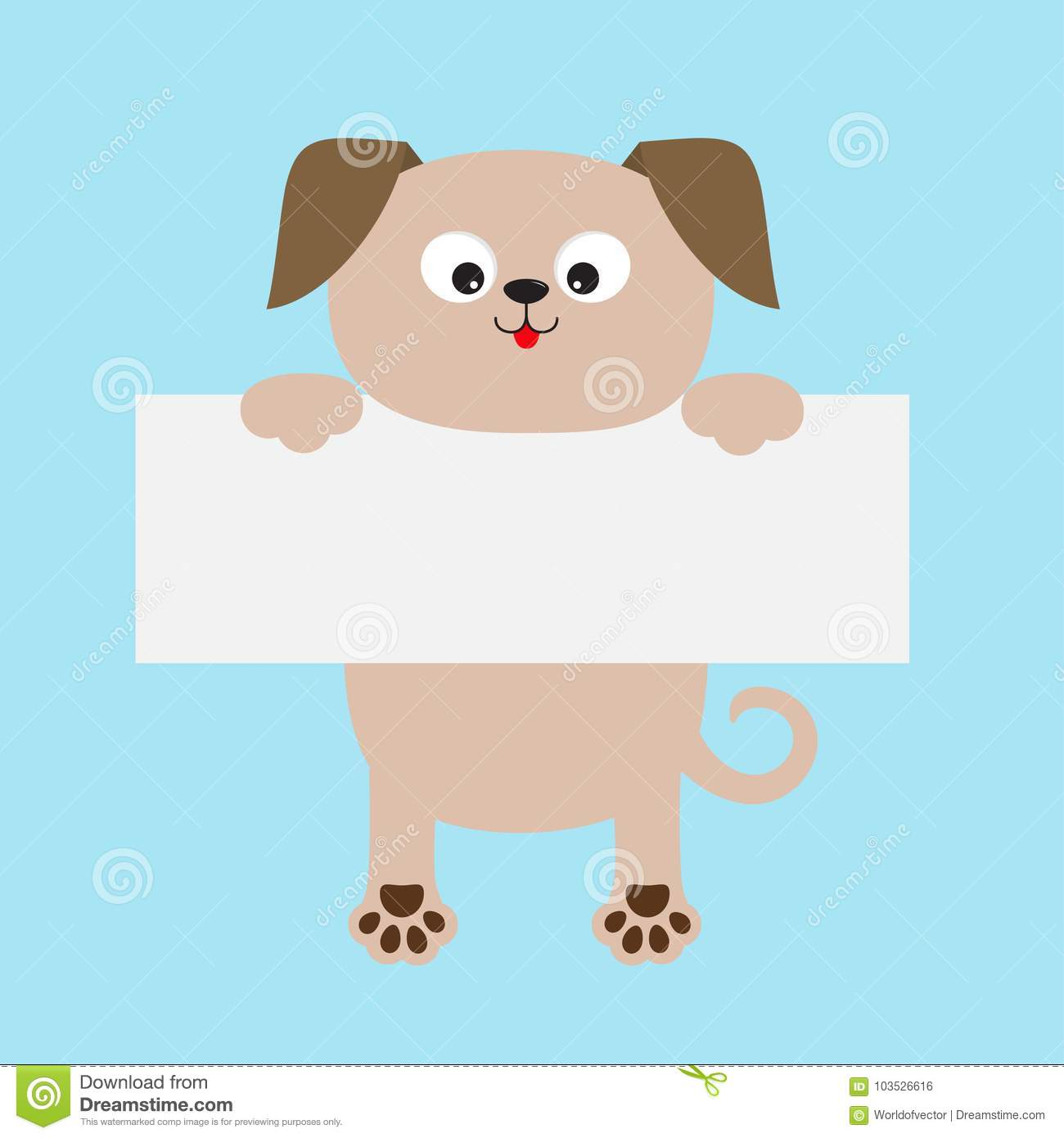 funny dog hanging on paper board template kawaii puppy animal body