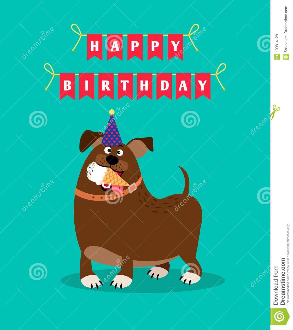 Funny Dog And Ice Cream Card Stock Vector - Illustration of ...