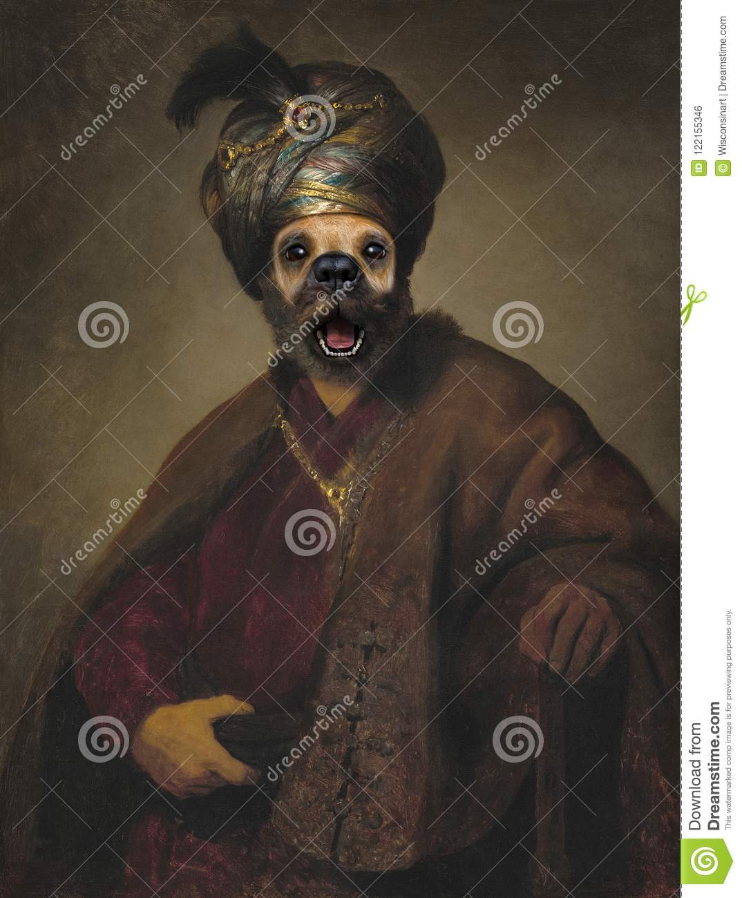 Funny Dog, Rembrandt Spoof, Oil Painting