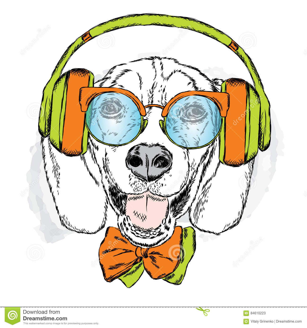 Funny Dog Wearing Headphones, Sunglasses And Tie. Vector