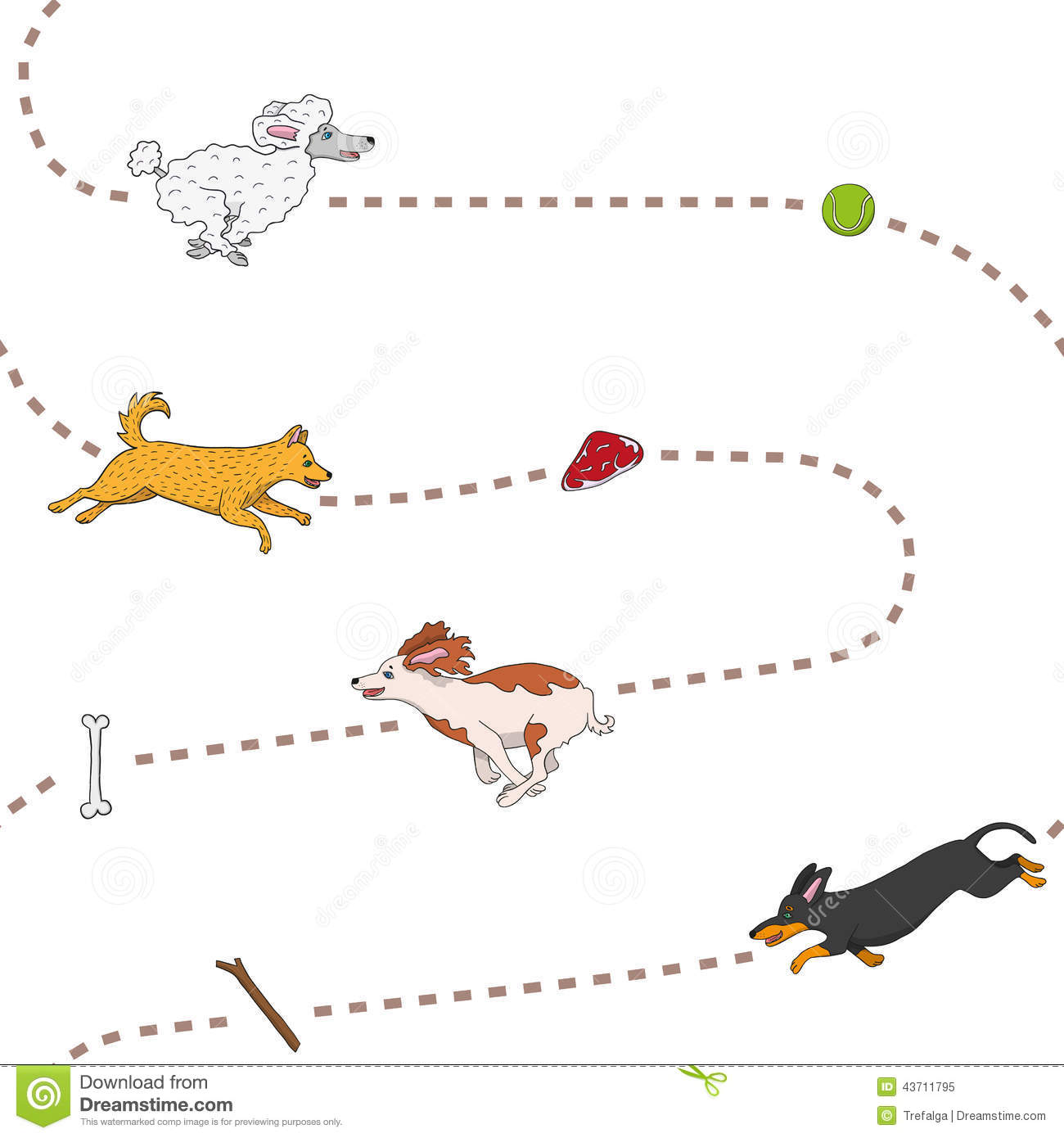 Funny dogs chasing items pattern