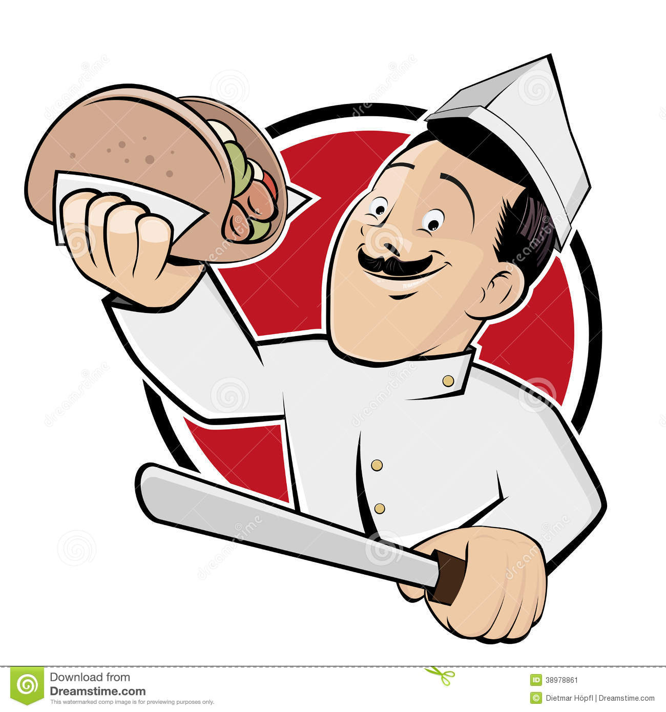 Funny Doner Cartoon In A Badge Stock Vector - Illustration of knife
