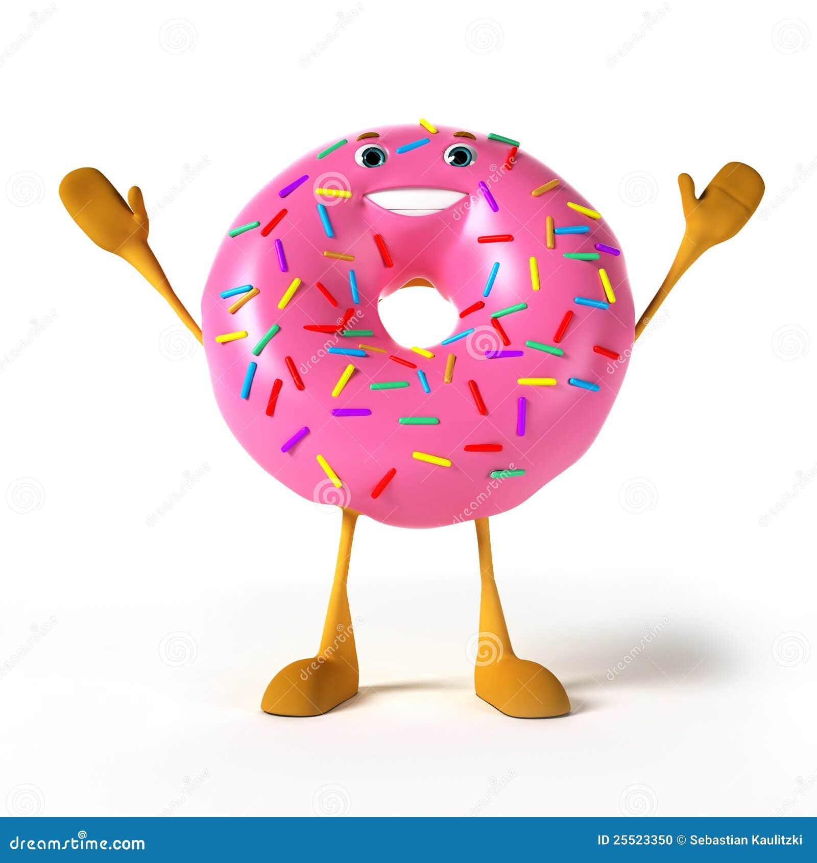 Funny donut character stock illustration. Illustration of ...
