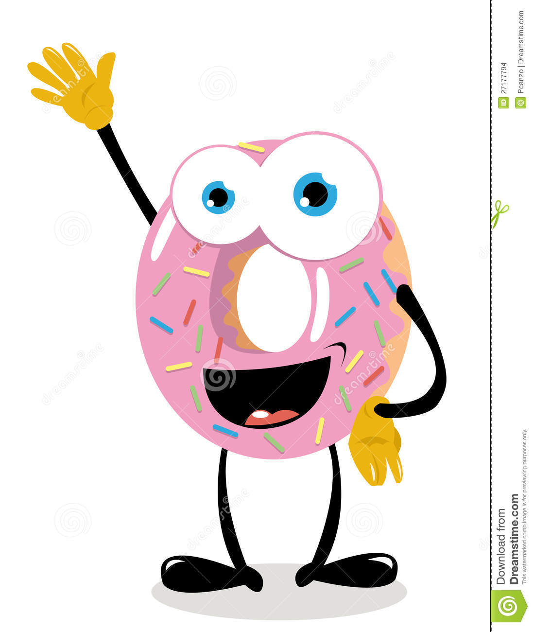 Funny Donut Saying hello stock vector. Illustration of ...