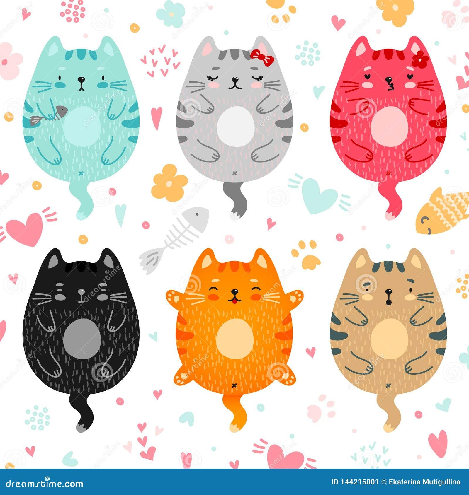 Doodle colored cats set