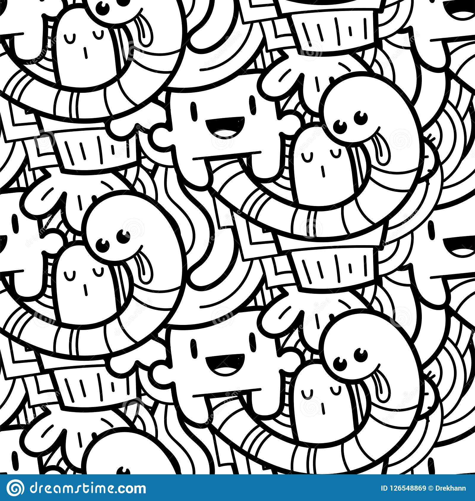 Funny Doodle Monsters Seamless Pattern For Prints, Designs And ...