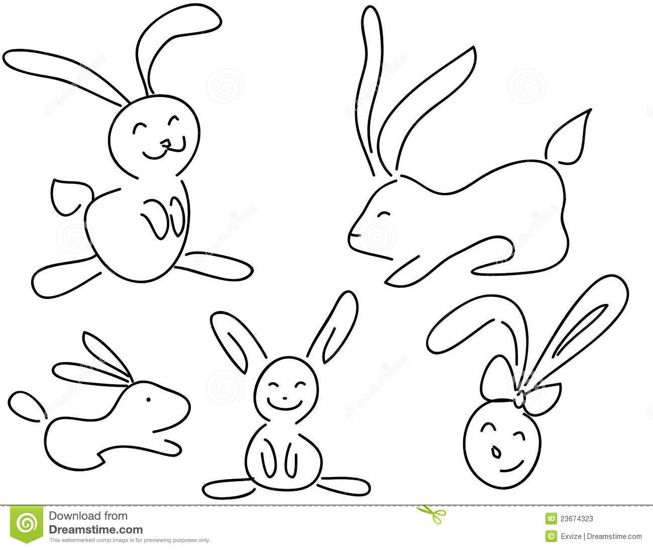 funny doodle rabbits stock photos   image 23674323