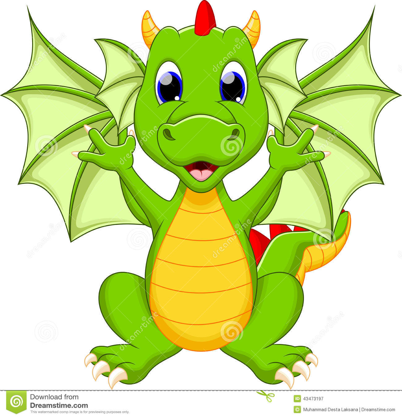 Funny Dragon Cartoon Stock Illustration - Image: 43473197