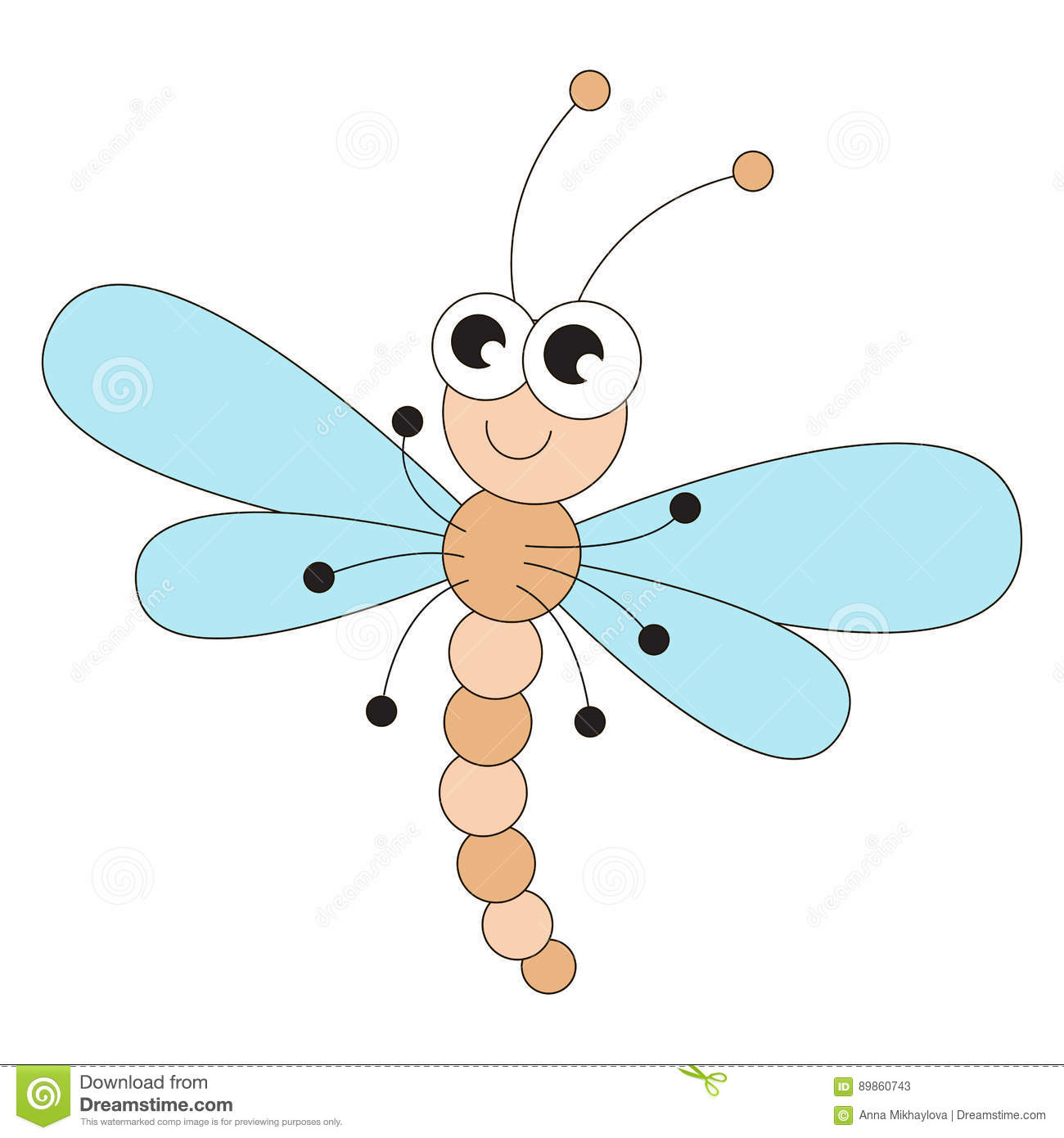 Funny Dragonfly Cartoon Stock Vector Illustration Of Comic 89860743