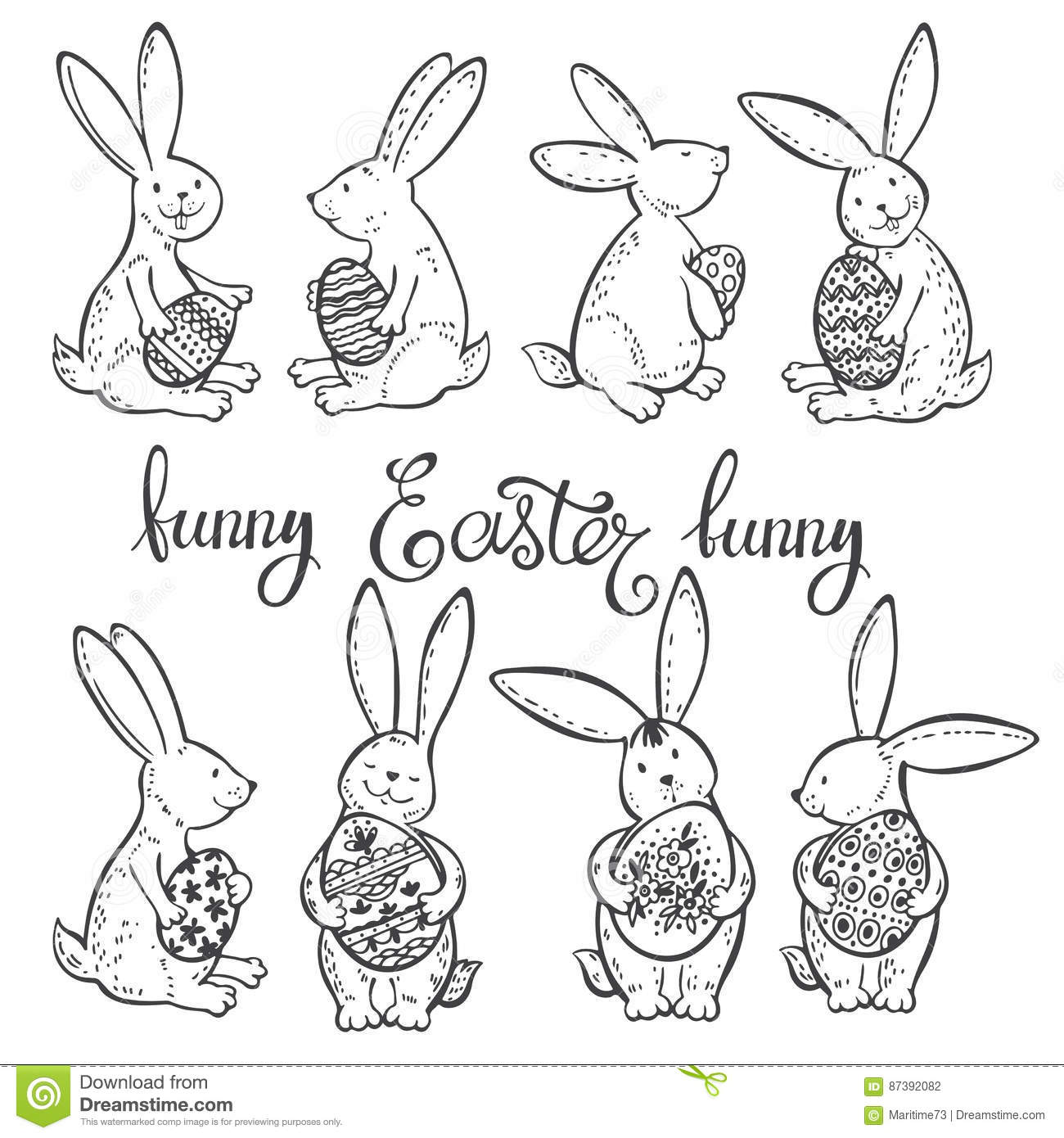 funny easter bunnies with festive decorative eggs vector