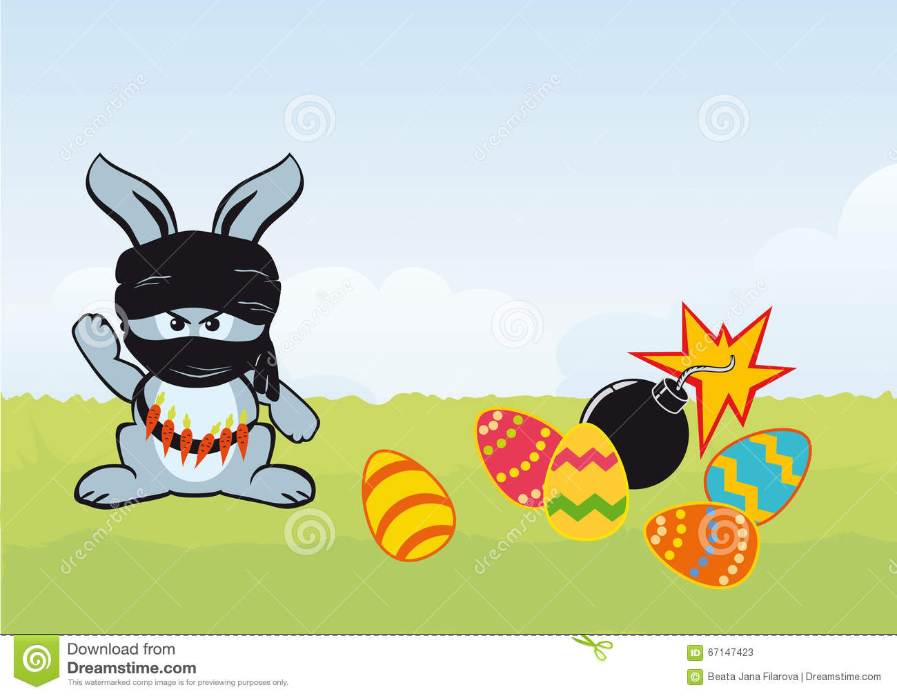 Rabbit. Easter cartoon. Vector illustration of Easter. I hate ...