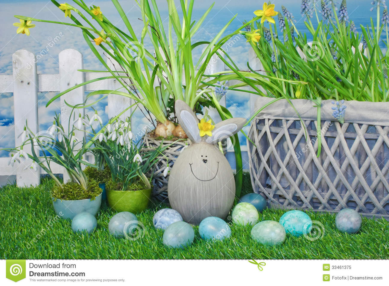 Funny Easter Bunny In Garden Stock Image - Image of flower, green ...