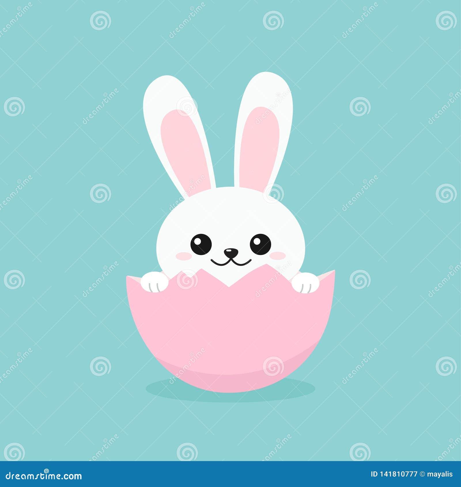 Funny Easter Bunny inside egg