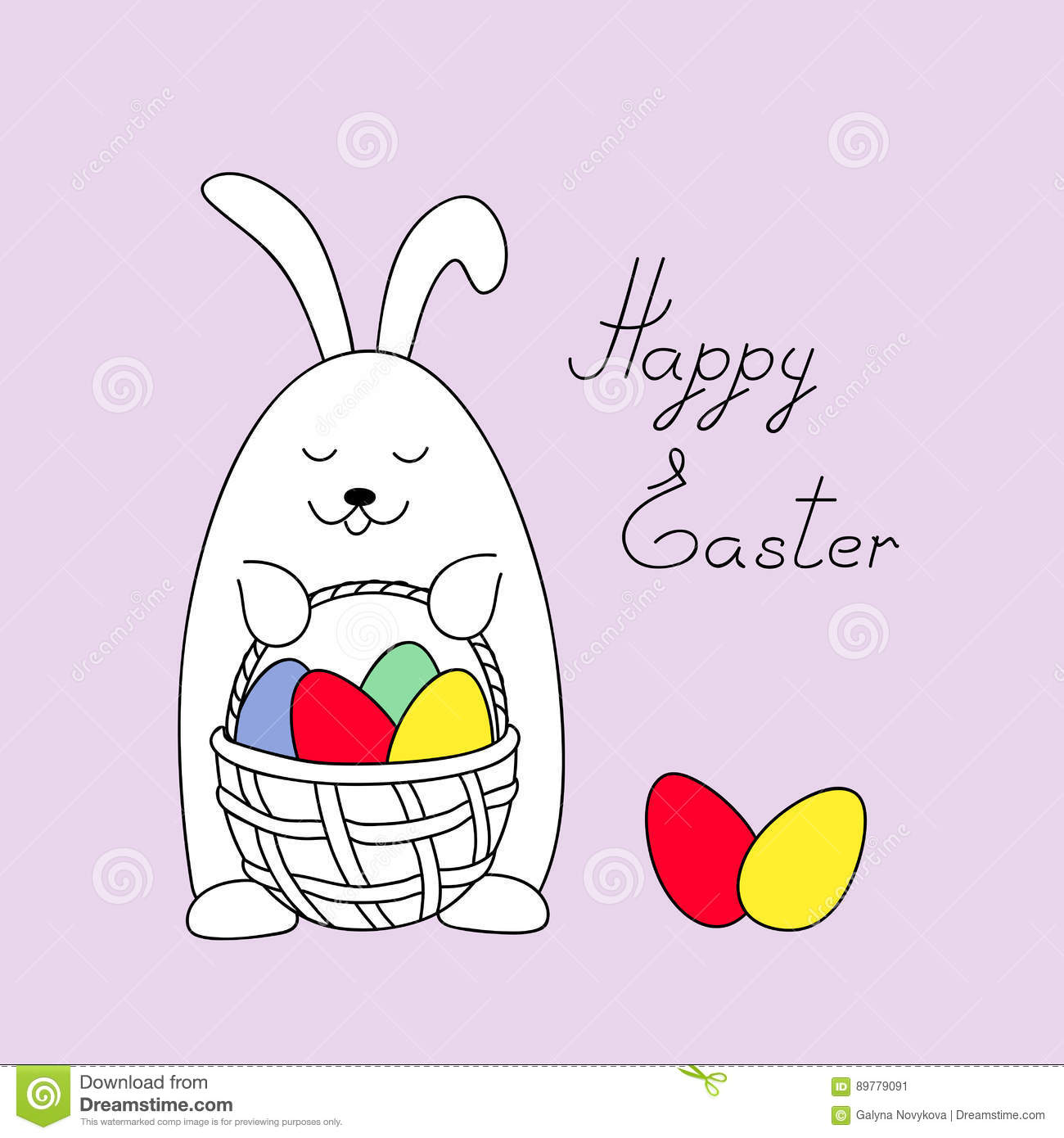 funny easter bunny keeping a basket with eggs stock vector