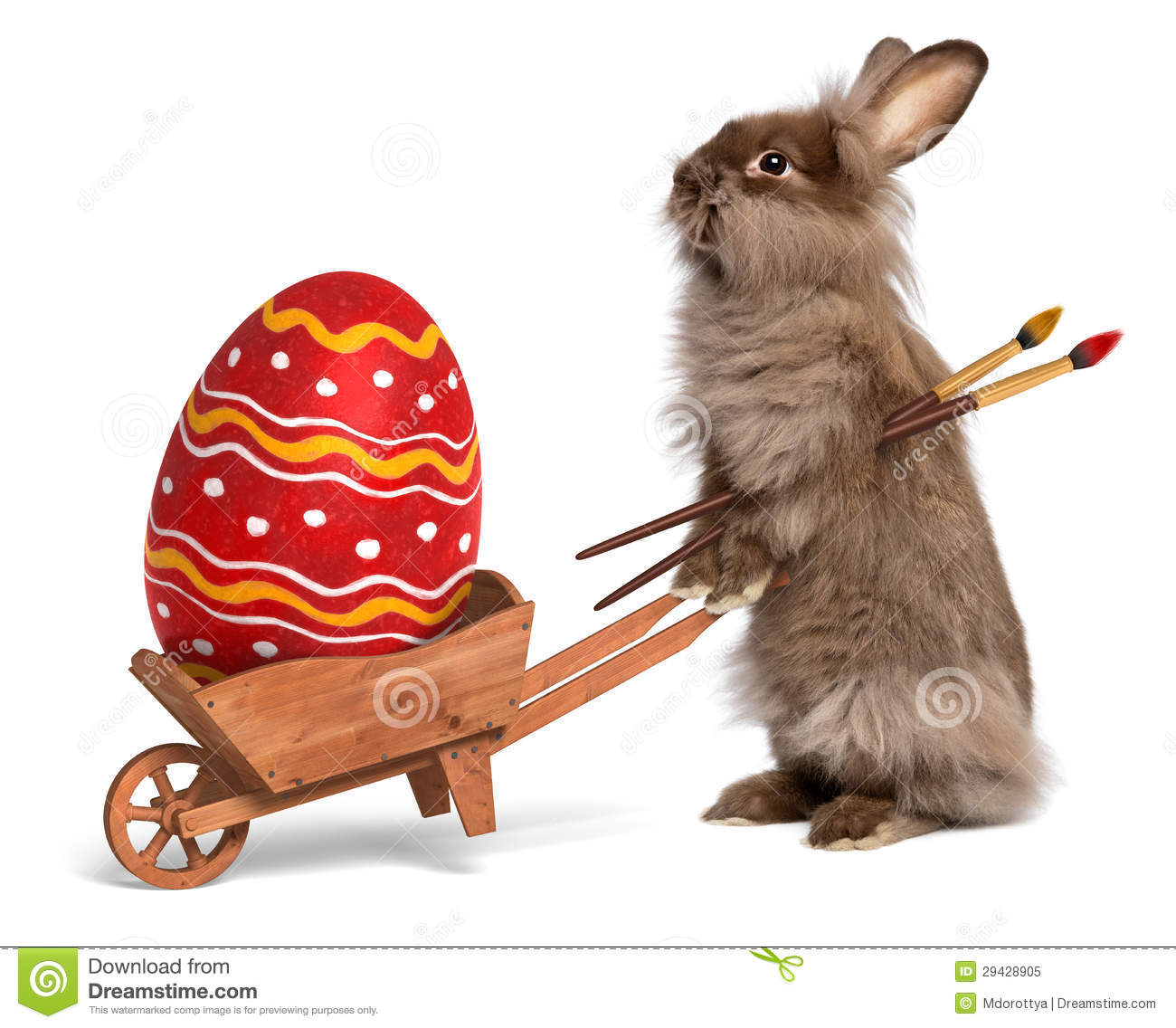 Funny rabbit funny rabbit pictures pictures of rabbits funny - Funny Easter Bunny Rabbit With A Wheelbarrow And A Red Easter Eg Royalty Free Stock Photo