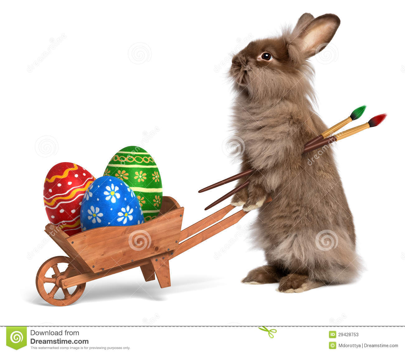 Funny Easter bunny rabbit with a wheelbarrow and some Easter egg