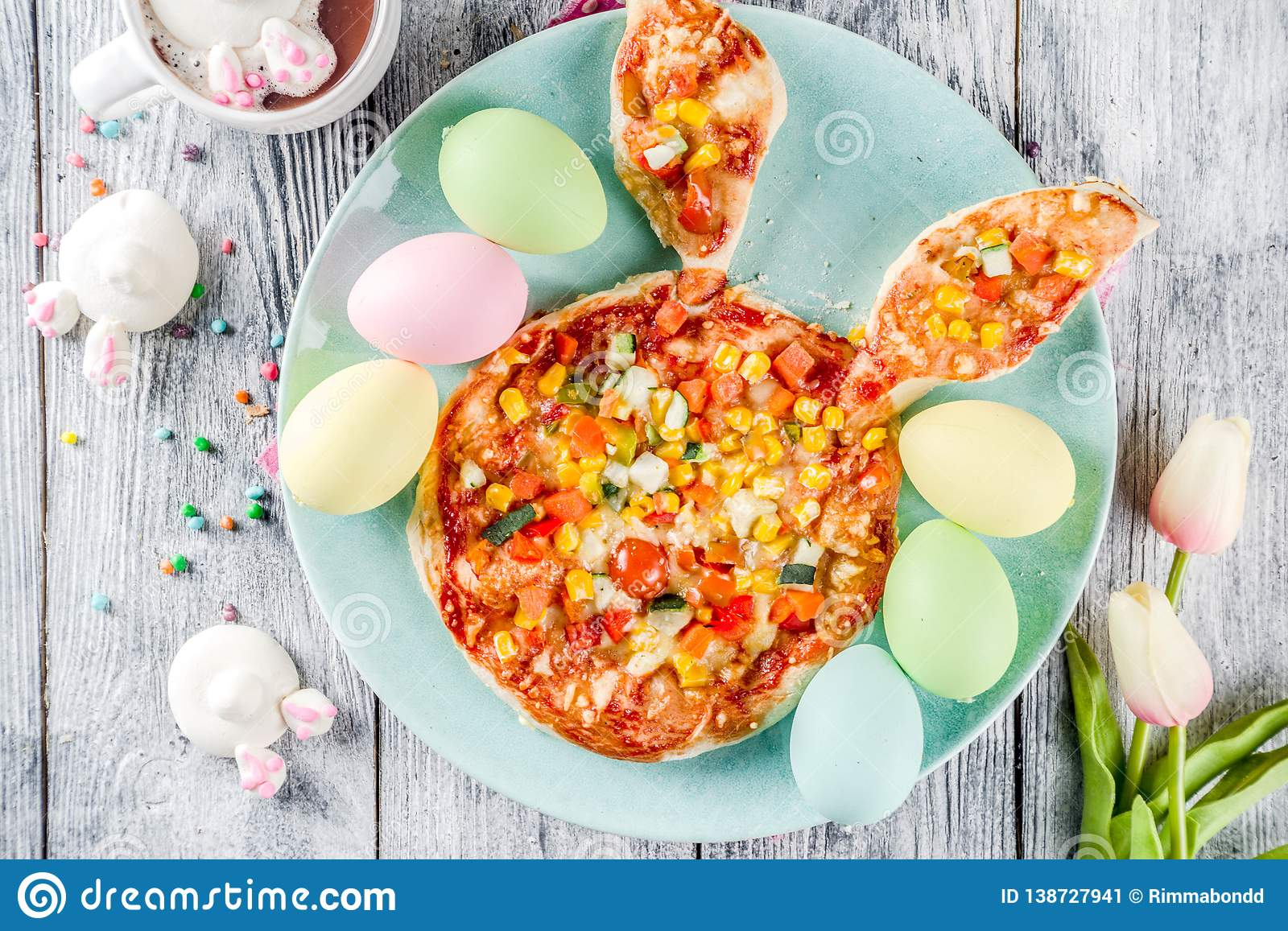 Funny easter kids pizza stock image  Image of baked - 138727941
