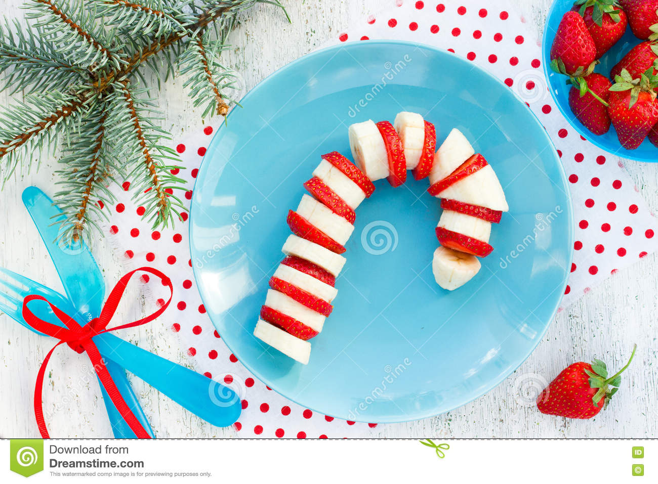 Funny Edible Candy Cane - Banana And Strawberry Candy Cane On Pl ...