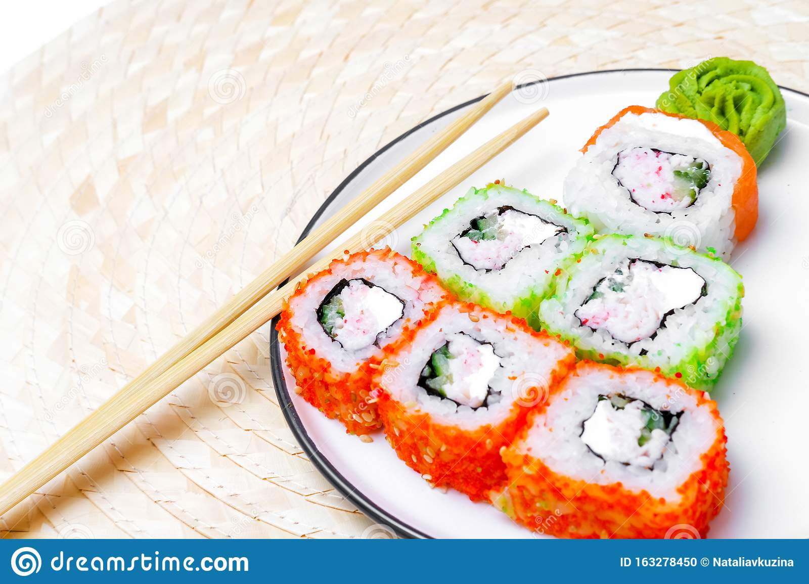 Funny Edible Christmas Tree Made From Sushi Creative Idea For Japanese Restaurant New Year Food Background Top View Stock Photo Image Of Christmas Asian 163278450