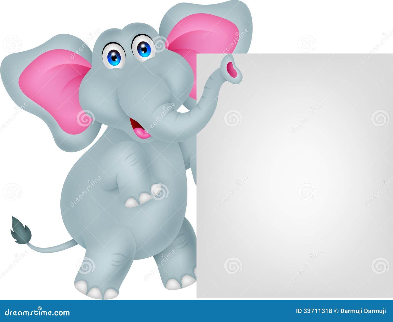 Funny Elephant Cartoon With Blank Sign Royalty Free Stock ...