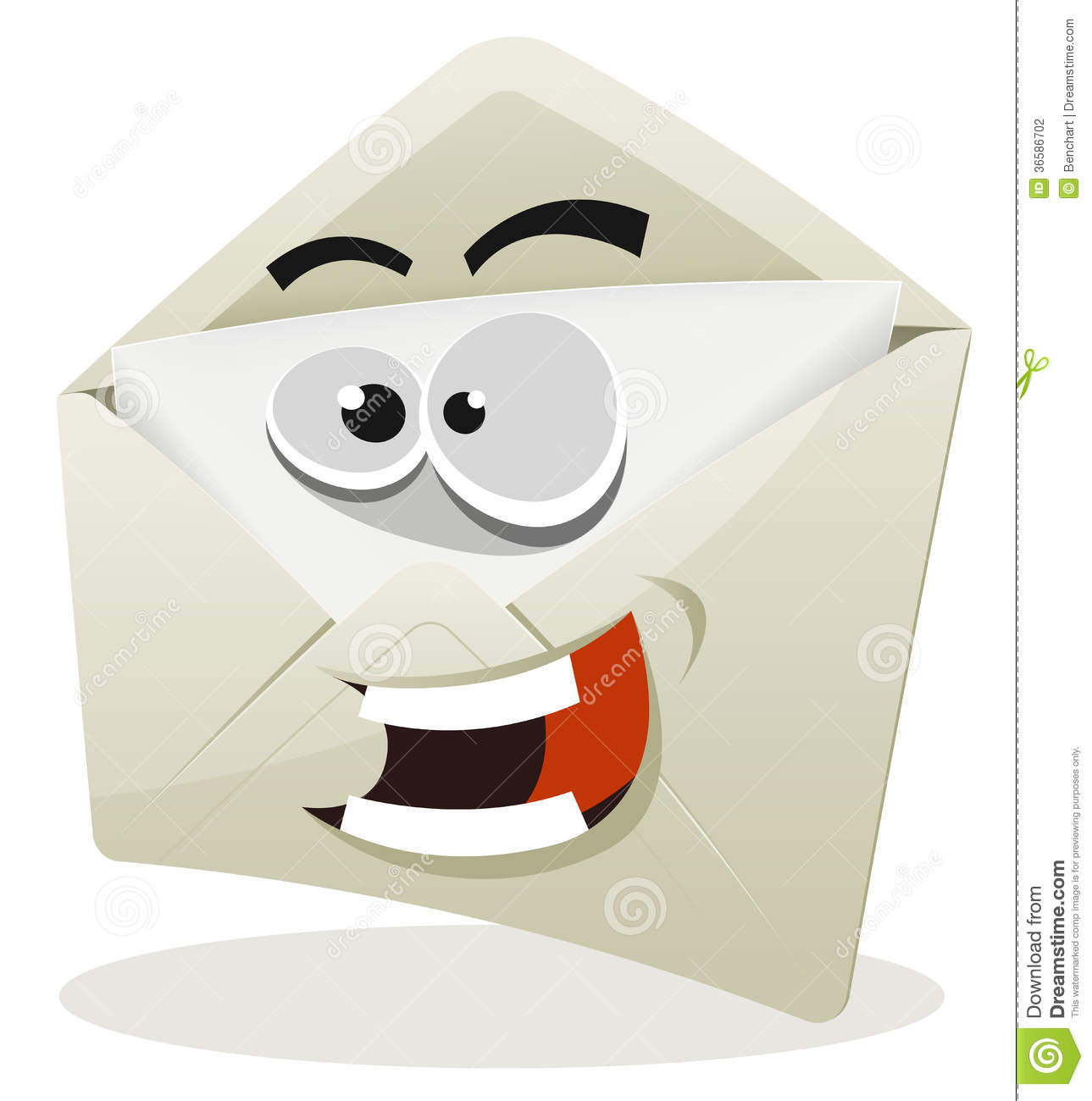 Illustration of a funny cartoon email envelope icon character over ...