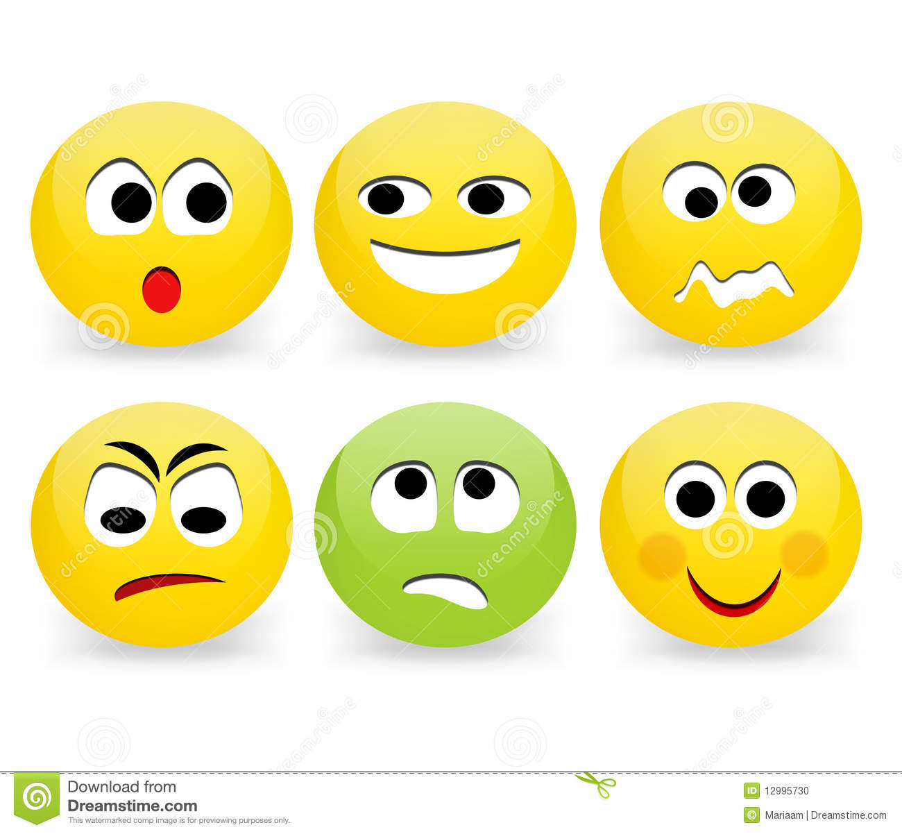 Express your feelings with Emoticons; a set of 6 various Emoticons ...